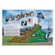 Hoffmaster Map Of Virginia Placemat, 10 x 14 inch -- 1000 per case.