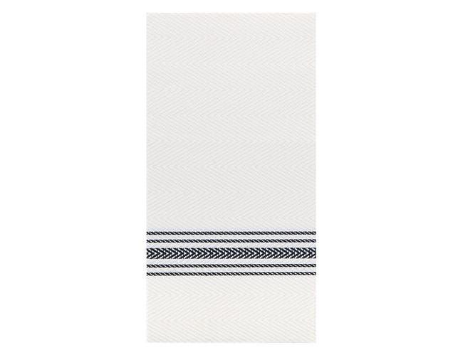 Hoffmaster FashnPoint Black and White Dishtowel Printed Dinner Napkin, 15.5 x 15.5 inch -- 800 per case.
