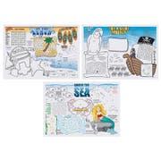 Hoffmaster 3 Designs Four Color Seashore Games Placemat, 10 x 14 inch -- 1000 per case.
