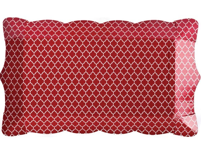 Hoffmaster Simply Baked Printed Scarlet Quadrafoil Buffet Tray, 4 1/2 x 9 inch -- 100 per case.