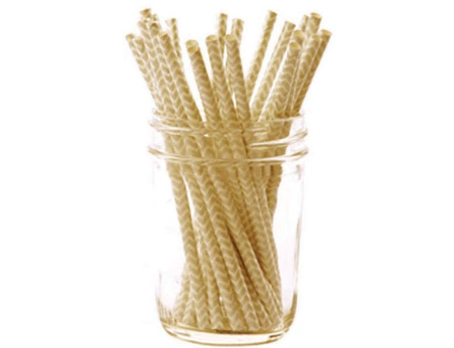 Hoffmaster Simply Baked Gold Chevron Print Cocktail Paper Straw, 5 1/2 inch -- 500 per case.