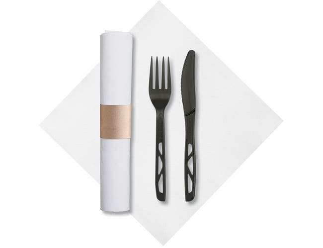 Hoffmaster Caterwrap Fashnpoint 100 Percent Compostable Napkin Rolled Cutlery Kit -- 50 per case.
