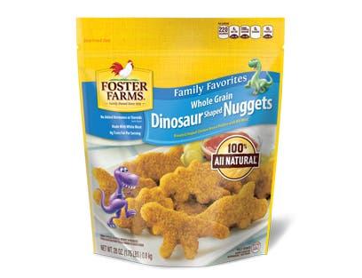 Foster Farms Dinosaur Shaped Chicken Breast Nugget -- 8 per case.