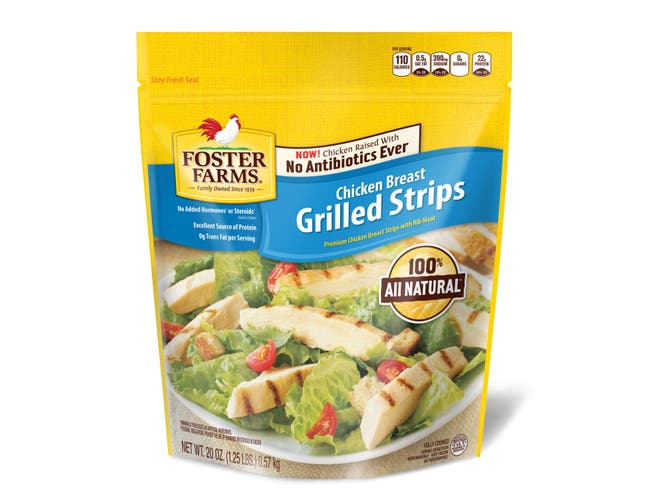 Foster Farms Grilled Chicken Breast Strip -- 8 per case.