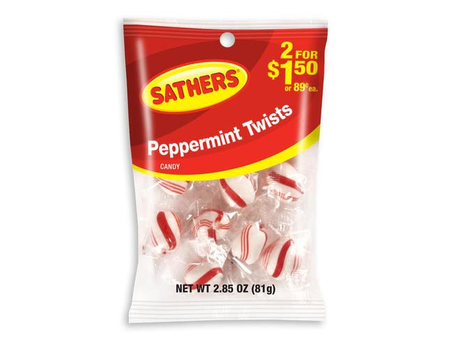 Sathers Peppermint Twists Candy, 2.85 Ounce -- 12 per case.