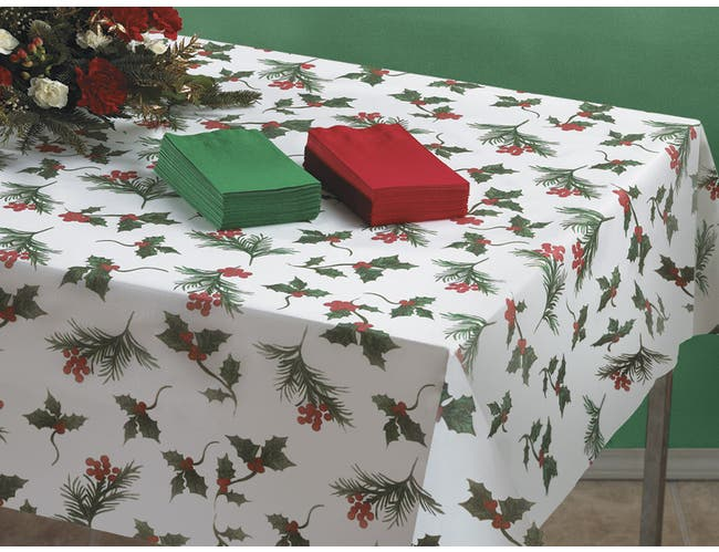 Hoffmaster Linen-Like Paper Winterberries Table Cover, 50 x 108 inch -- 24 per case.