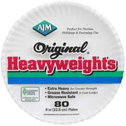 AJM Original Heavyweight Paper Plate, 80 count per pack -- 12 per case.