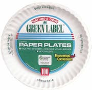 AJM Green Label Paper Plates, 100 count per pack -- 2 per case