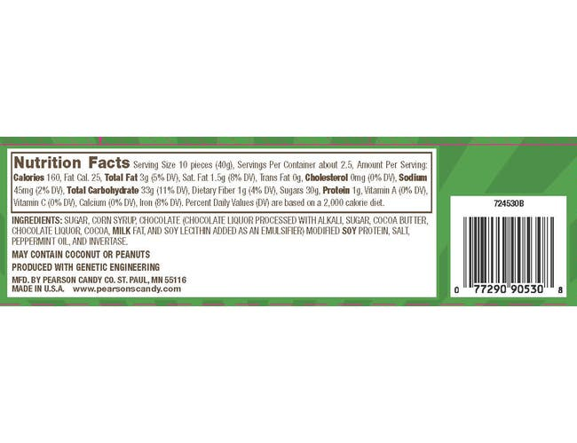 Pearsons Mint Patties Minis Candy, 3.5 Ounce Peg Bag -- 8 per case.