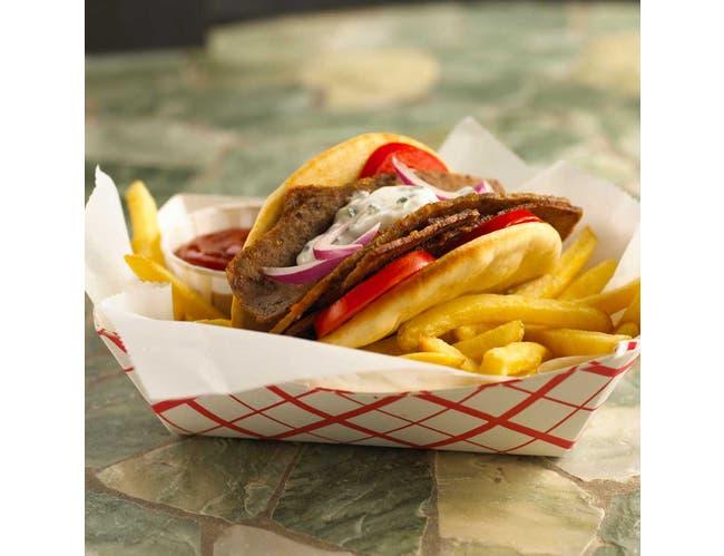 Kronos Frozen Gyrokone Fully Cooked Halal Brand Beef Slice, 5 Pound -- 4 per case.