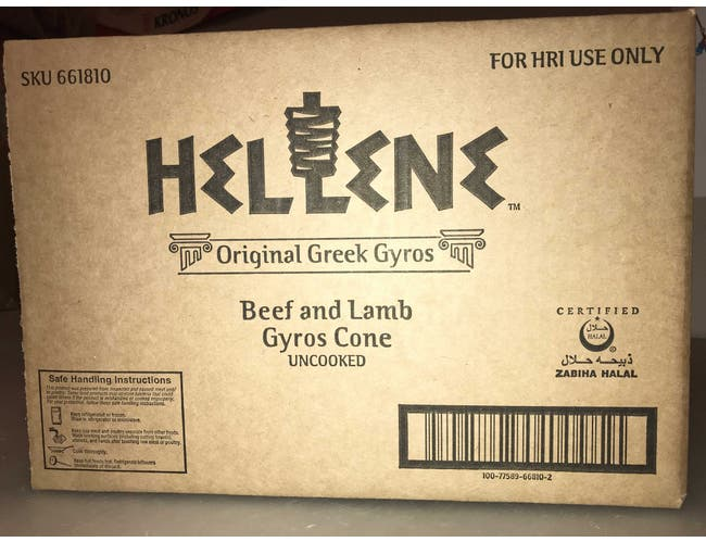 Cones Hellene Beef and Lamb Gyros Cone, 10 Pound -- 2 per case.