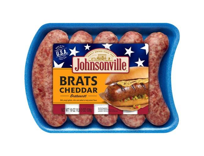 Johnsonville Cheddar Bratwurst, 19 Ounce -- 12 per case.