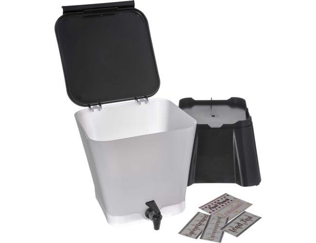 Black Square Polypropylene Beverage Dispenser with Base 3 Gallon -- 1 each