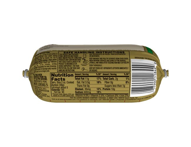 Jimmy Dean Original Lite Sausage Roll, 12 Ounce -- 12 per case.