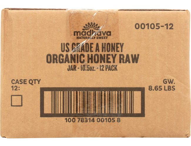 Madhava Organic Pure and Raw Honey, 10.5 Ounce -- 12 per case.