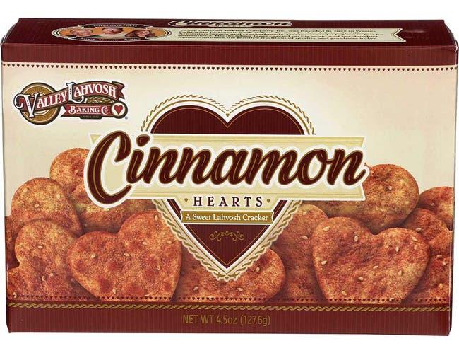 Valley Lahvosh Heart Shaped Cinnamon Cracker, 4.5 Ounce -- 12 per case.
