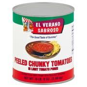 El Verano Sabroso Peeled Chunky Tomato in Light Tomoto Puree, 102 Ounce -- 6 per case.