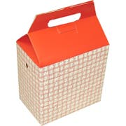 Dixie Red Plaid Medium Auto Bottom Handled Take Out Carton -- 125 per case.