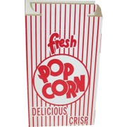 Dixie Red Automatic Bottom Popcorn Boxes with Hook and Eye Reclose Top, 2.5 x 5.75 x 8.5 inch -- 250 per case.