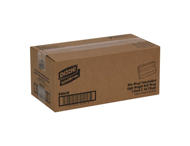 Rite Wrap White Interfolded Light Weight Dry Waxed Deli Paper Sheets, 7.5 x 10.5 inch -- 6000 per case.