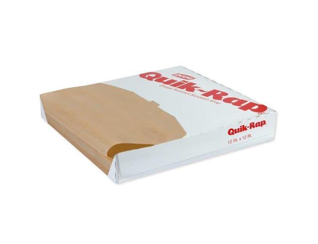 Quik Rap Unbleached Highly Grease Resistant Sandwich Paper, 12 x 12 inch -- 5000 per case.