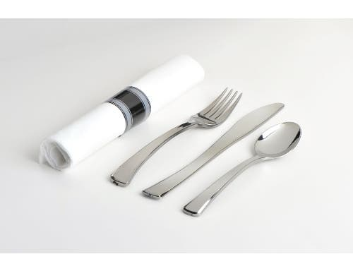 Glimmerware Rolled Cutlery Kit Knife Fork Spoon and Napkin -- 100 per case.