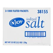 Njoy Single Serve Fluted Salt Packet, 0.5 Ounce -- 3000 per case.