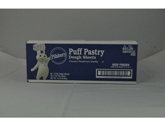 General Mills Pillsbury Puff Pastry Dough Sheet, 12 Ounce -- 20 per case.