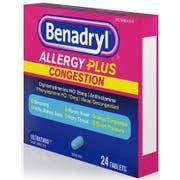 Benadryl Allergy Plus Congestion Tablet, 24 count per pack -- 24 per case.