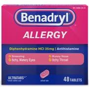 Benadryl Ultratab Allergy Tablets, 48 per unit -- 24 per case