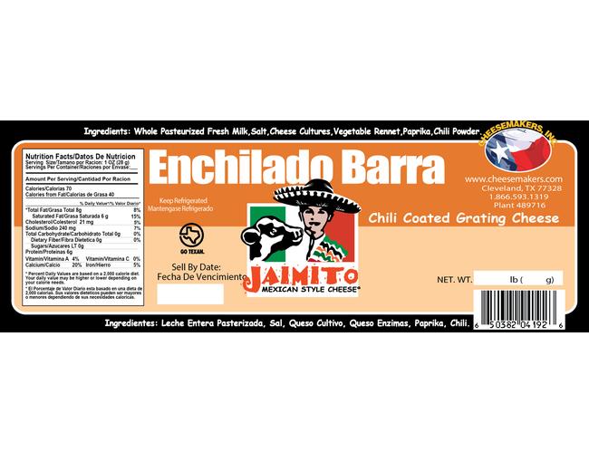 Jaimito Mexican Style Enchilado Barra Cheese, 5 Pound -- 4 per case