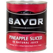 Savor Imports Sliced Packed Pineapple in Natural Juice, Number 10 Can -- 6 per case.