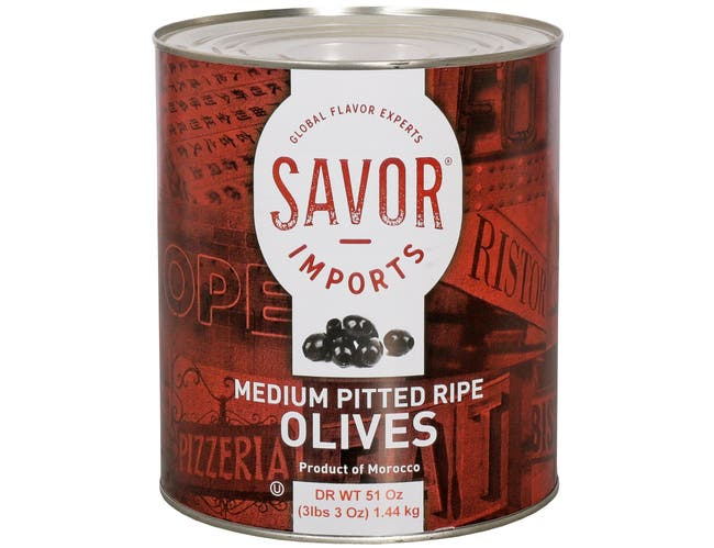 Savor Imports Medium Pitted Ripe Olives Number 10 Can, 51 Ounce -- 6 per case
