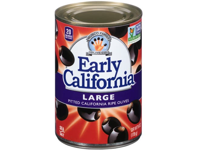 Early California Large Pitted Ripe Olives, 6 Ounce -- 24 per case.