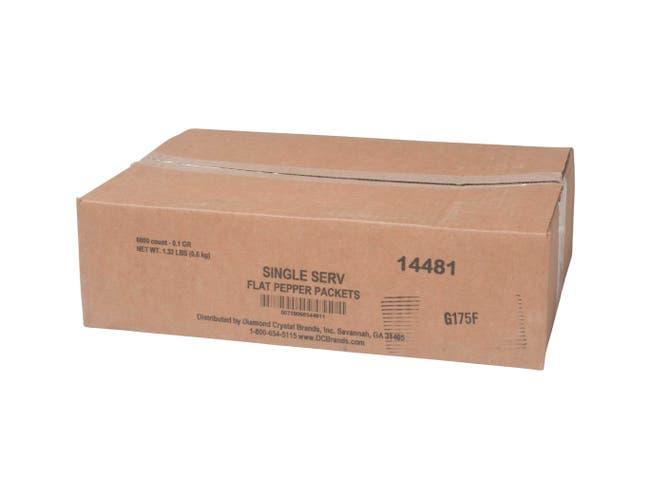 Single Serv Flat Pepper Packet, 0.1 Gram -- 6000 per case.