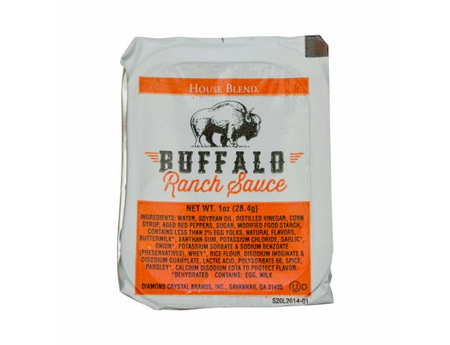 Flavor Fresh Low Sodium Buffalo Ranch Sauce, 1 Ounce Cup -- 100 per case.