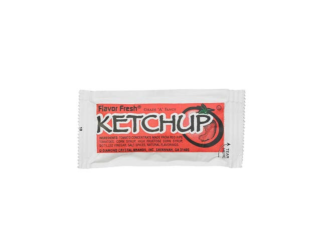Flavor Fresh Fancy Poly Ketchup Pouch, 7 Gram -- 200 per case.