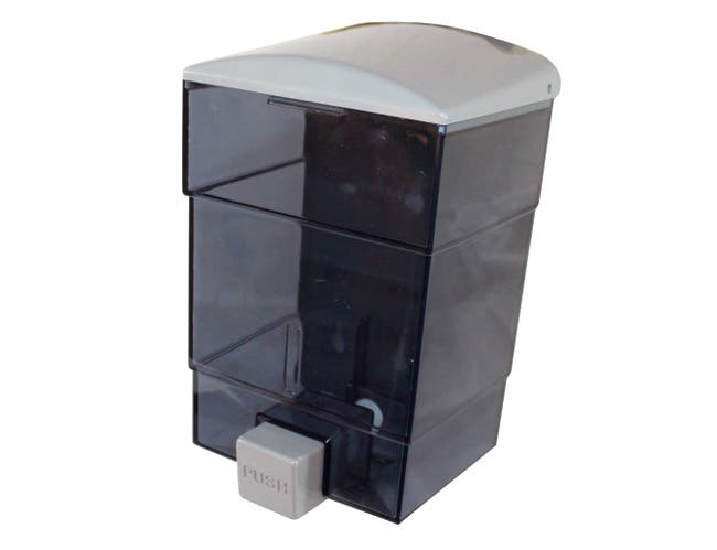 Impact Products Triad Gray/Transparent See Thru Soap Dispenser, 7 1/2 inch Length x 5 inch Width x 4 1/4 inch Height -- 12 per case.