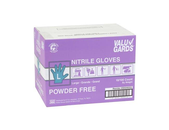 ValuGards Purple Large Disposable Nitrile Gloves -- 1000 per case.