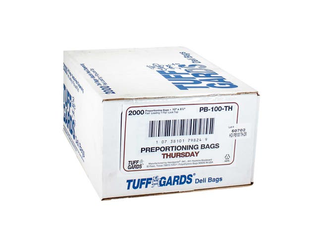 Bag (TuffGards® Pre-Portioning Bags) Clear Thursday Brown 10 X 8.5 --- 2000 Count
