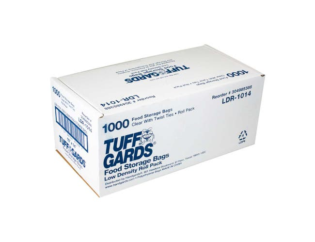 Handgards LDR1014 Clear Low Density Food Storage Bag - Roll Pack, 10 x 14 inch -- 1000 per case.