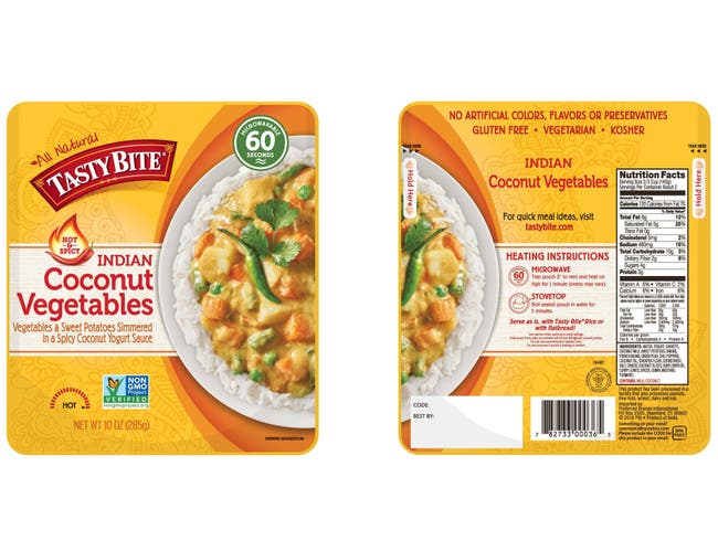 Tasty Bite Hot and Spicy Coconut Vegetables, 10 Ounce -- 48 per case