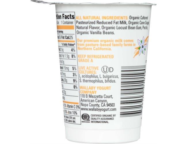 Wallaby Organic Aussie Smooth Lowfat Vanilla Bean Yogurt, 6 Ounce -- 12 per case.