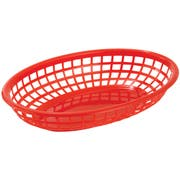 Winco Red Oval Fast Food Basket, 9 1/2 x 5 x 2 inch -- 36 per case