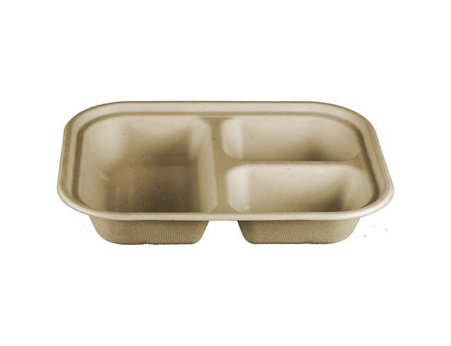 World Centric Compostable 3 Compartment PLA Lined Unbleached Plant Fiber Tray, 9.8 x 7.5 inch -- 400 per case.