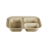 World Centric Compostable Unbleached Plant Fiber 3 Compartment Tray, 10 x 7.5 x 3 inch -- 300 per case.