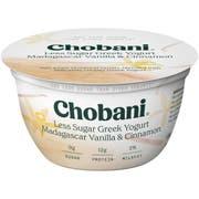 Chobani Less Sugar Vanilla Cinnamon Greek Yogurt, 5.3 Ounce -- 12 per case.