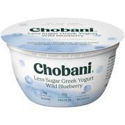 Chobani Less Sugar Wild Blueberry Greek Yogurt, 5.3 Ounce -- 12 per case.