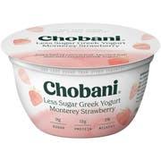Chobani Less Sugar Monterrey Strawberry Greek Yogurt, 5.3 Ounce -- 12 per case.