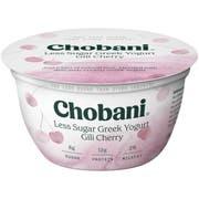 Chobani Less Sugar Gili Cherry Blended Greek Yogurt, 5.3 Ounce -- 12 per case.